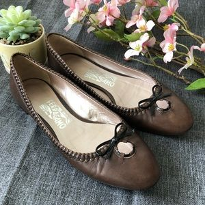 Salvatore Ferragamo Brown Leather Ballet Flats